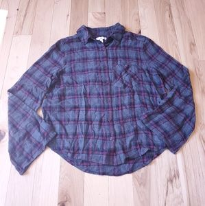 BP Nordstrom xs Grey Red Plaid Flannel Fall button
